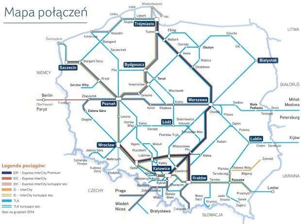 Mapa połączeń PKP Intercity 2014